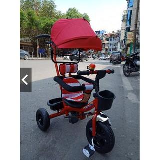 [Trợ giá] Xe đạp 3 bánh cần đẩy có bàn đạp, mái che, bảo hiểm, để chân thumbnail