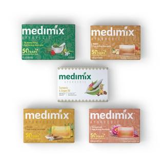Combo Xà phòng Medimix 18 Loại Thảo Dược - Nghệ Và Dầu Argan - Đàn Hương - Kumkumadi Nghệ Tây - Cỏ Hương Bài 125g bánh