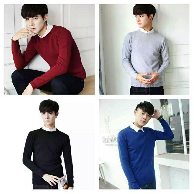 [SALE]Combo áo len nam cổ tròn  kèm 3 đôi tất nam ngắn cổ chất lượng cao - Áo len