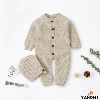 ❀Yaho❀Baby Girl Romper Knitted Newborn Baby Clothes Romper With Hat Infant Toddler Jumpsuit For Kids Cotton Toddler