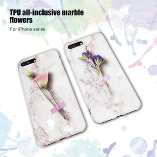 Protective Tpu iPhone series all-inclusive marble flowers
