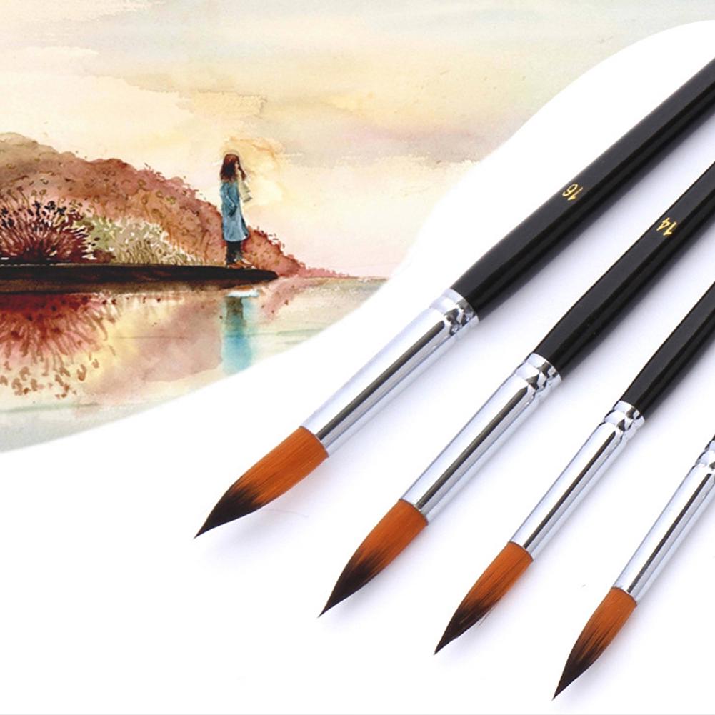 9pcs/Set Lightweight Professional Art Supplies Watercolor Pen Paint Brush Wood Handles Nylon Accessories Oil Painting