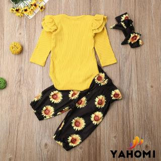 ❀Yaho❀3Pcs Newborn Baby Girl Fall Winter Outfits Ruffle Knitted Romper Clothes Sets