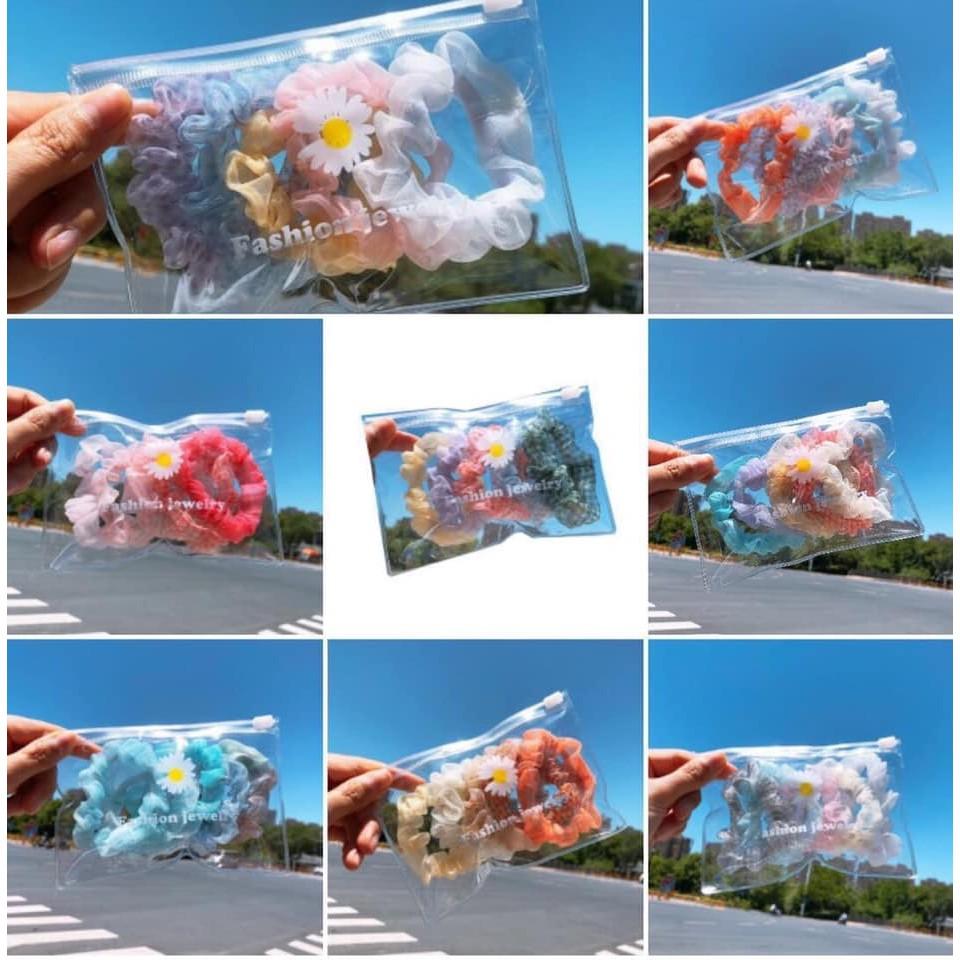 Sét 5 dây buộc tóc hoa ren Scrunchie  siêu HOT