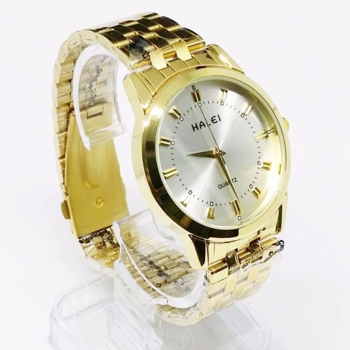 Đồng hồ nam nữ HALEI dây kim loại 505 mặt bạc với khung thép mạ vàng sang trọng đỉnh cao