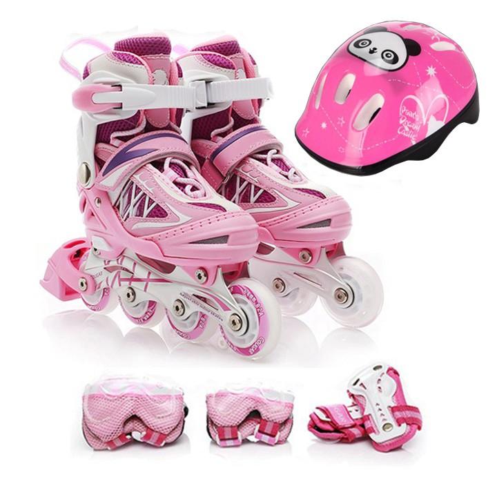 Giày trượt Patin tặng kèm đồ bảo hộ - Màu hồng