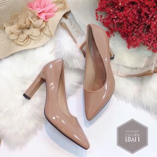 giày cao gót 9p từ 7 10cm giày đen nữ chất da bóng mũi nhọn- SAOSHOP