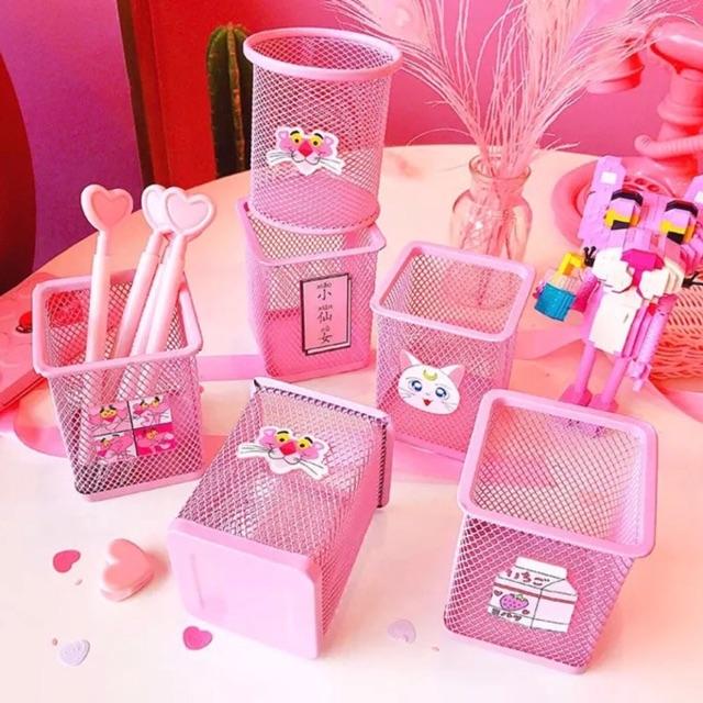 Giỏ đựng bút kute siêu xinh hồng