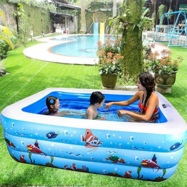 Bể bơi 3 tầng hình chữ nhật 140 x 105 x60cm