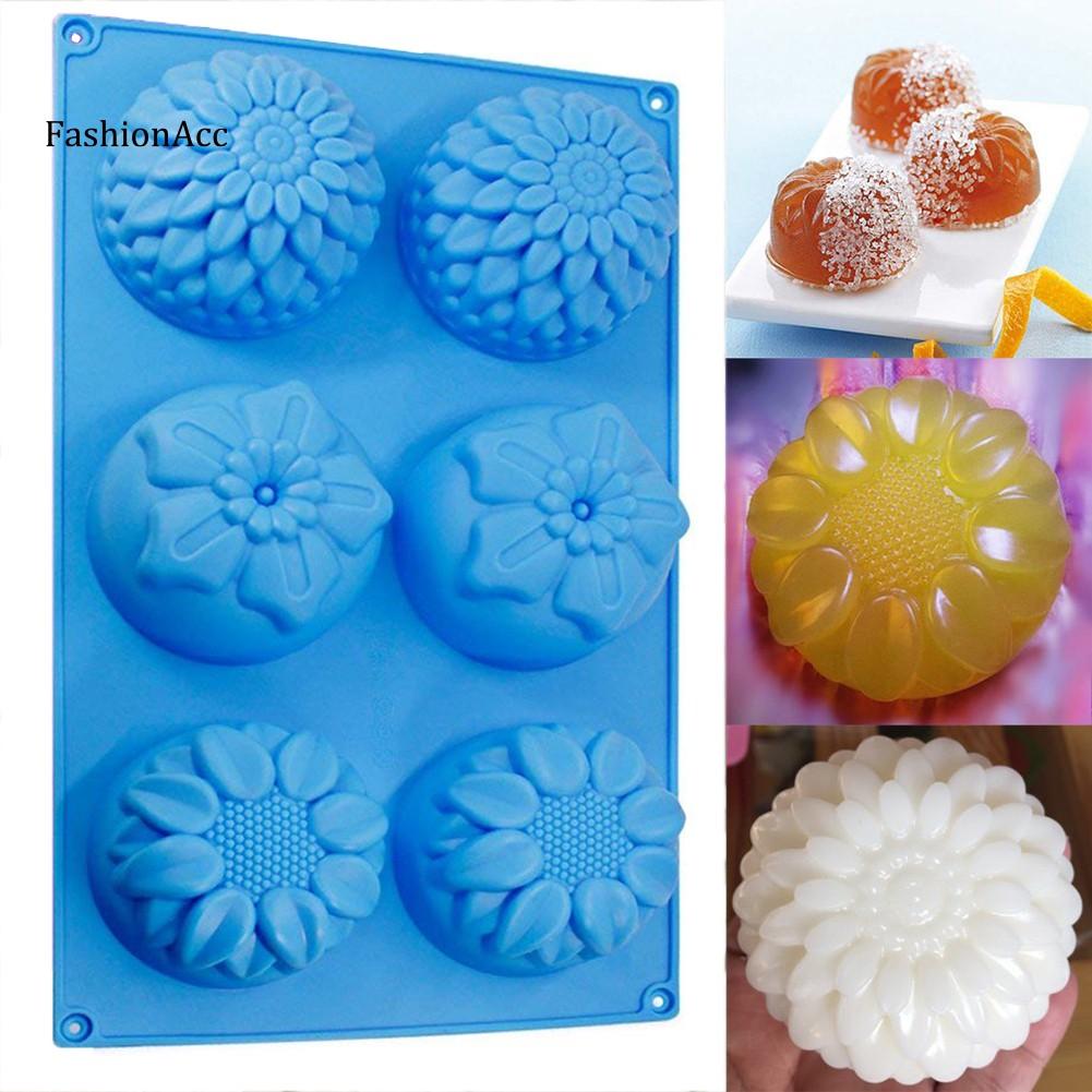 FHAC_3Pcs 6 Cavity Silicone Flower Shape Cake Molds Sugar Chocolate DIY Bakeware