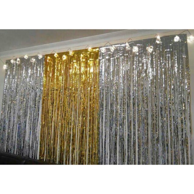 SALE TẾT - ( Hàng loại 1 , dầy , sẵn băng dính ) Rèm kim tuyến sinh nhật 1m x 3m , 1m x 2m , rèm tường sinh nhật