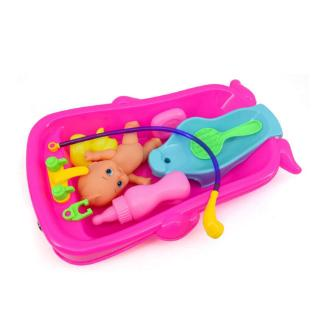 youn* Kids Baby Doll Bathtub Set Early Education Tools Role Play Gift for Boys Girls