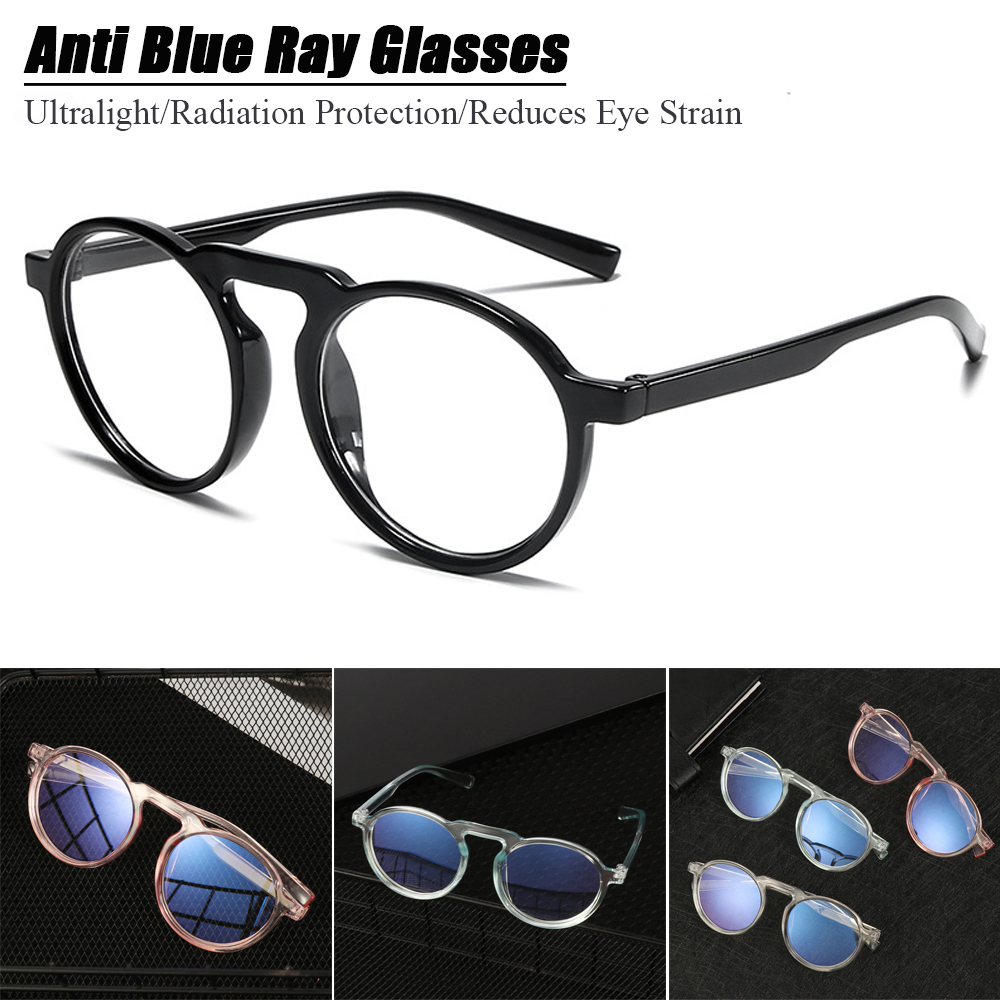 『BSUNS』 Radiation Protection Improve Comfort Transparent Round Frame Ultralight PC Frame Anti Blue Ray Glasses