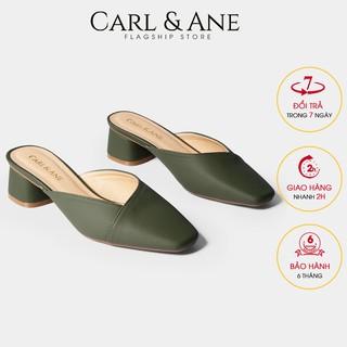 Carl & Ane - Dép cao gót bít mũi gót vuông kiểu dáng cao 4cm màu xanh rêu_CL008