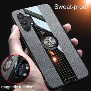 Ốp Điện Thoại Cứng Phối Vải Chống Sốc Kèm Móc Xỏ Ngón Nam Châm Cho Samsung Galaxy A32 4g
