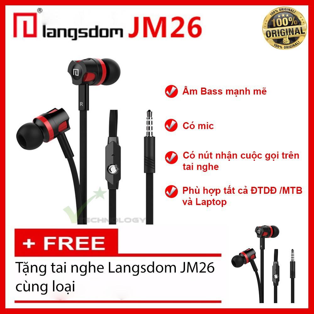 Combo Tai nghe Langsdom JM26 Super Bass (Đen) - Mua 1 tặng 1