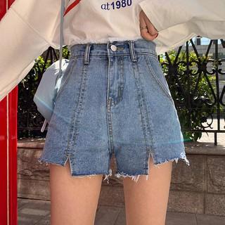 Quần jeans ngắn nữ lưng cao màu xanh nhạt xẻ rách ngắn 2 bên ulzzang