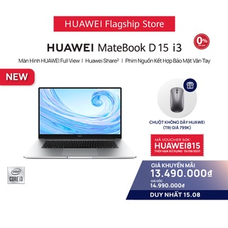 Máy Tính Xách Tay Huawei Matebook D15 (8GB/256GB) | Màn Hình Fullview | Phím Nguồn Kết Hợp Bảo Mật