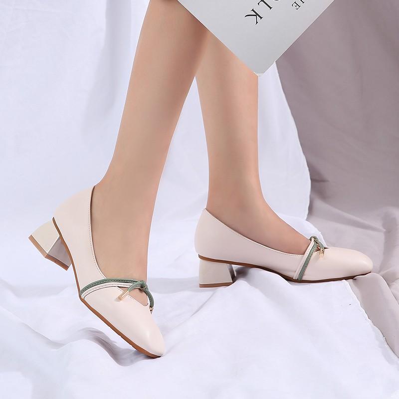 Giày Búp Bê Gót Dày Miệng Nông Thiết Kế Dễ Thương Cho Nữ