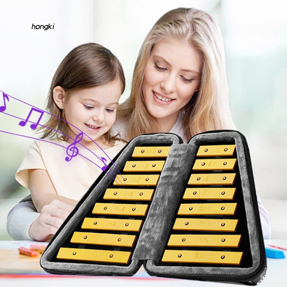 【HKM1】16Key Glockenspiel Xylophone Kids Beginner Learning Music Percussion Instruments