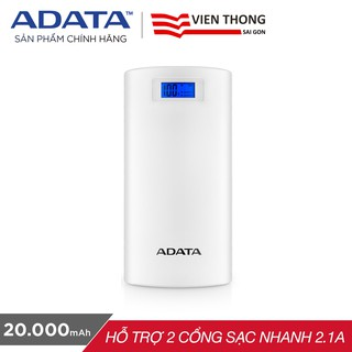 Pin sạc dự phòng 20000mAh P20000D ADATA (trắng) - Hãng phân phối chính thức