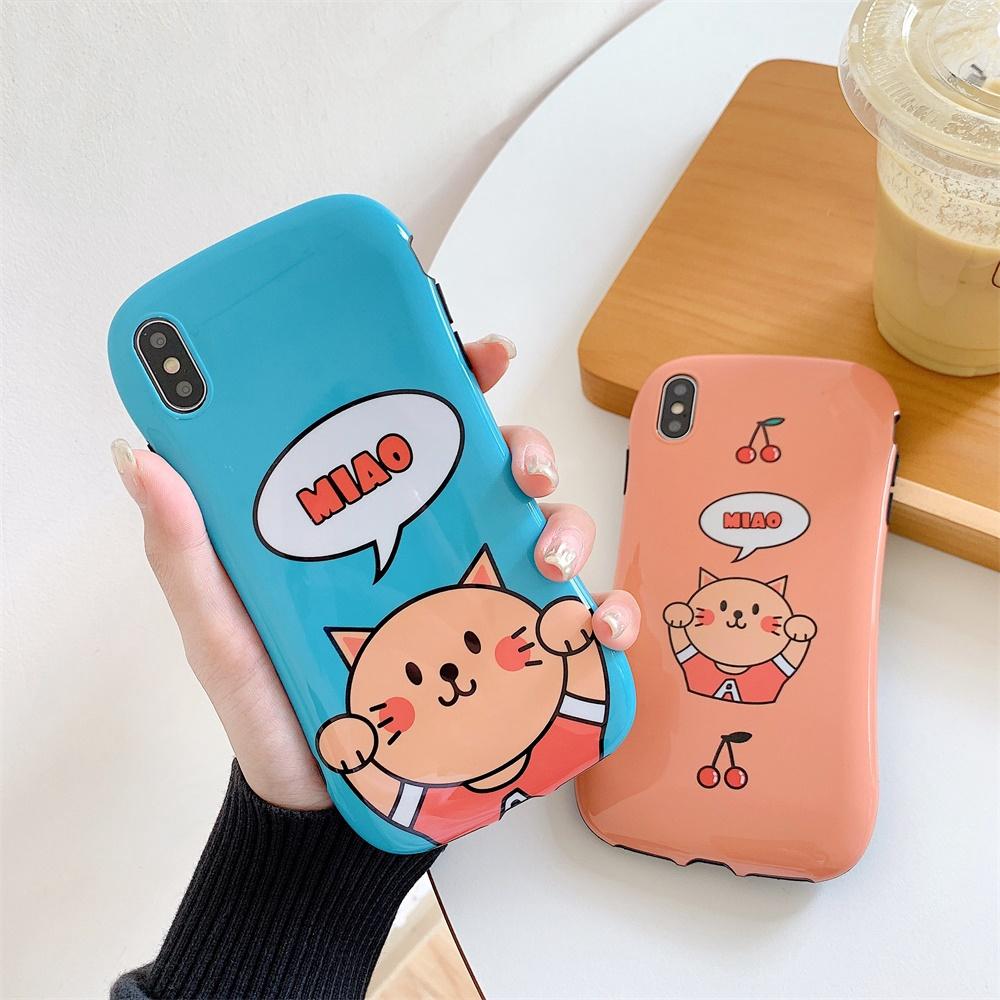 cute for IPhone cute kids silicone case Orange Cat cartoon iponecases