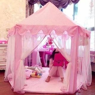 Lều công chúa hình lục giác màu hồng