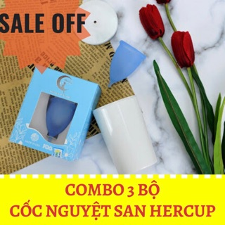 COMBO 3 bộ cốc nguyệt san HERCUP nhập khẩu Mỹ [ tặng full phụ kiện]