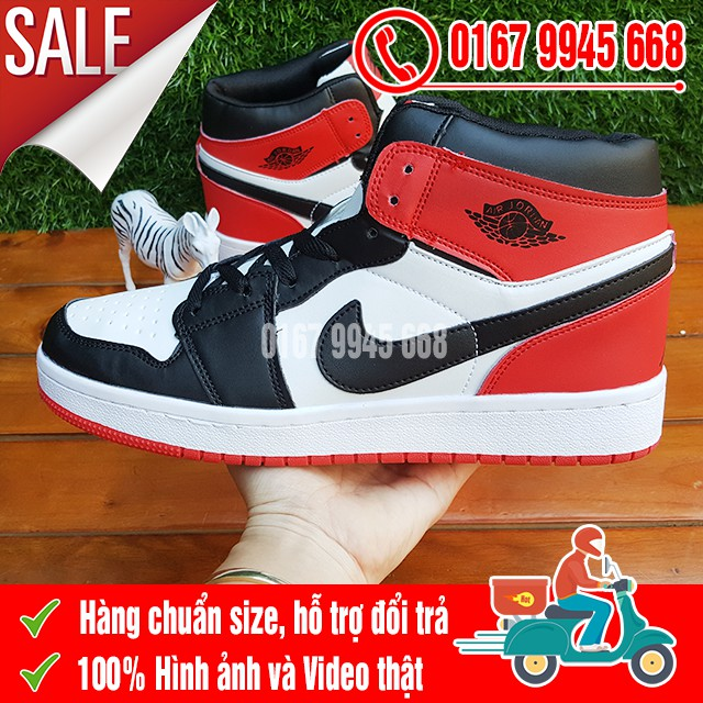 [SALE SỐC] Giày Nike Jordan 1 Đỏ Trắng Cổ Cao Nam Nữ
