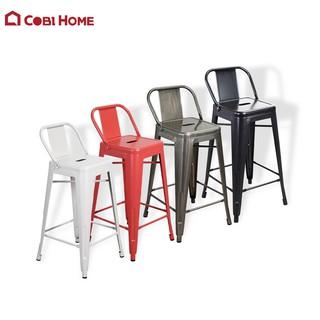 Ghế Bar chân cao có lưng tựa quán Cafe, quầy Bar Màu Đen, Đỏ, Trắng, Xám, Xanh mint – Cao 89 x Rộng 44cm – Cobi Home