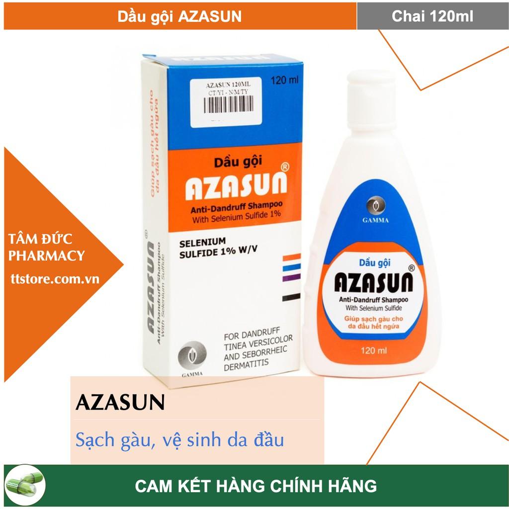 AZASUN [Chai 120ml] - Dầu gội trị gàu Azasun 1% (gàu mảng, gàu vón , vảy da đầu)