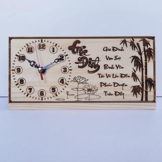 Đồng hồ để bàn – Khắc Laser – Thư Pháp Độc Đáo
