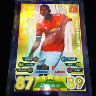 Thẻ cầu thủ/thẻ bóng đá Paul Pogba (Manchester United) Gold Limited Edition 2017/2018