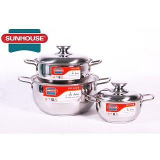 Bộ 3 nồi inox 3 đáy Sunhouse SH335