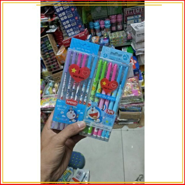 (Shop Uy Tín)Hộp 12 cây bút bi Doraemon viết xong xóa được đủ màu cao cấp nhất