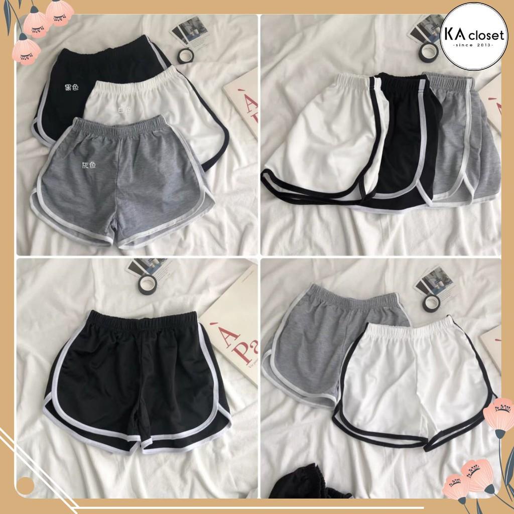 Quần Short Viền Đùi KA CLoset Shorts thể thao dáng ngắn năng động trẻ trung màu đen Ulzzang HOT