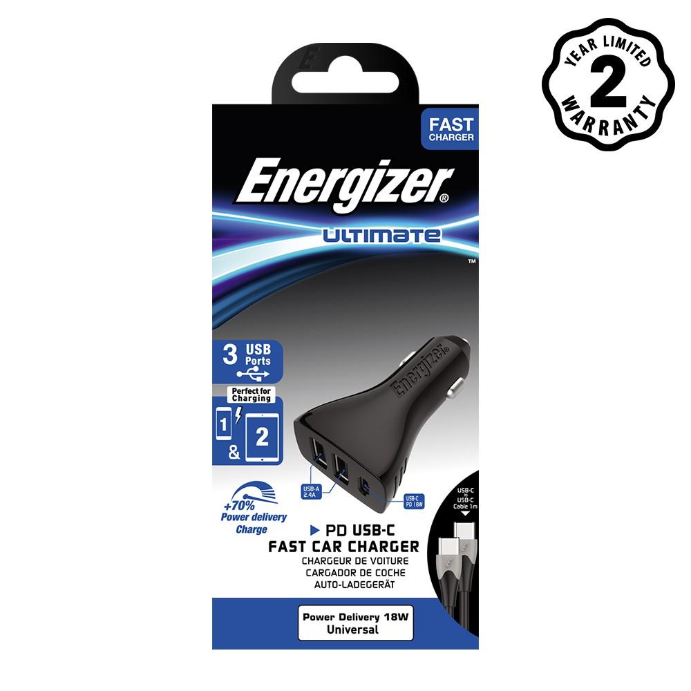 Sạc ô-tô Energizer 35W 2USB/1USB-C kèm cáp USB-C2.0 - DC21PGUCC3