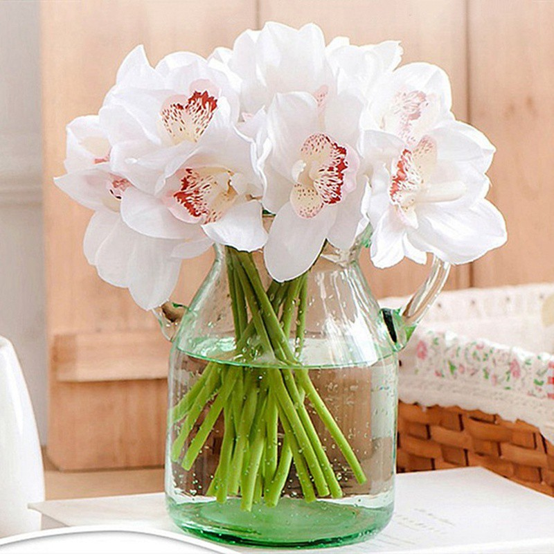 High simulation 6 hand-feeling orchids fake flower artificial flowers living room home decoration flowers