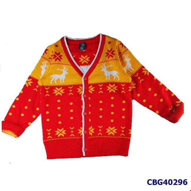 Áo khoác len họa tiết NOEL màu đỏ cho bé trai và bé gái từ 2-7 tuổi