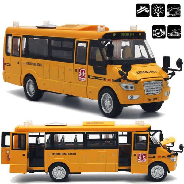 Large Pull Back Alloy Diecast School Bus with Openable Doors/Lights/Sound as