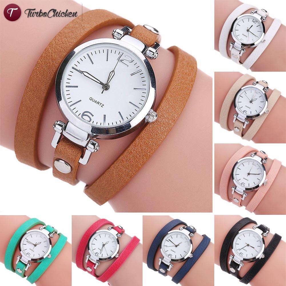 T⋄ CCQ Women PU Leather Band Bracelet Quartz Watch Casual Multi Layer Wristwatch Clock