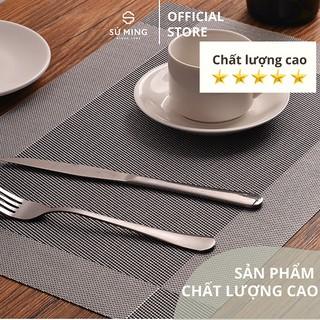 Tấm lót bàn ăn, thảm set up cao cấp placemat hình chữ nhật thumbnail