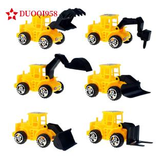 6Pcs/Set Plastic Yellow Taxiing Engineering Vehicle Forklift Bulldozer Drilling Truck Forklift Toy
