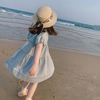 Đầm Denim Ngắn Tay Thời Trang Cho Bé Gái