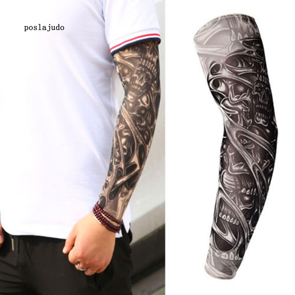 POSL Unisex Stretchy UV Protection Cycling Outdoor Fake Slip On Tattoo Arm Sleeve