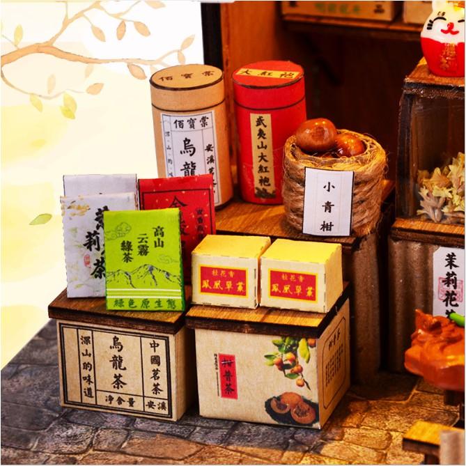 Mô hình nhà búp bê - cửa tiệm bán trà xanh - Chinese Tea