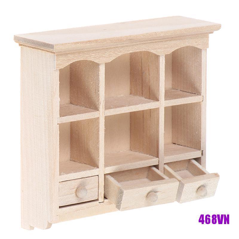 [DOU]1/12 Miniature Closet Hanging Cabinet Shelf Model Dollhouse Furniture Decor