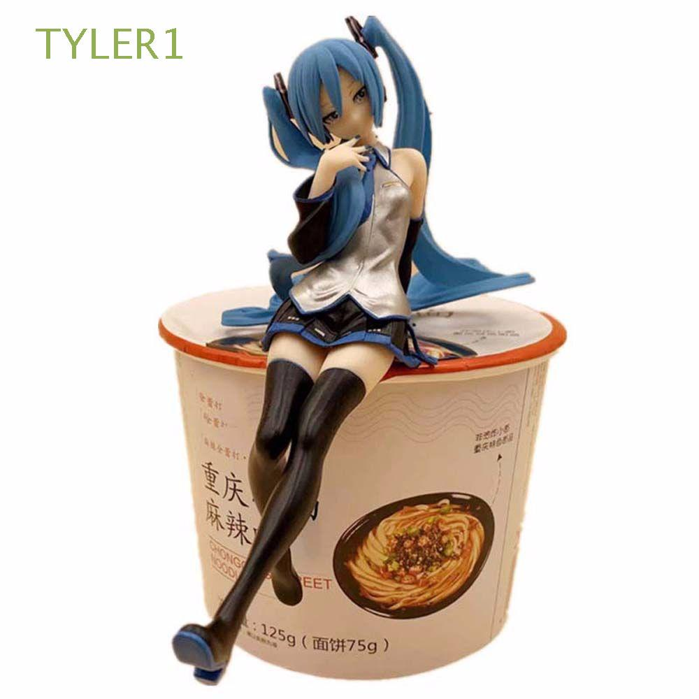 TYLER1 Toy Gift Hatsune Miku Press The Instant Noodles Figure Toys Action Figurine Miniatures Miku Collection Model Statue Home Ornaments Cake Decoration Anime Figure