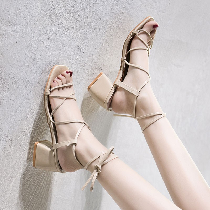 Sandals women's high heels, students with thick buckles with women's shoes