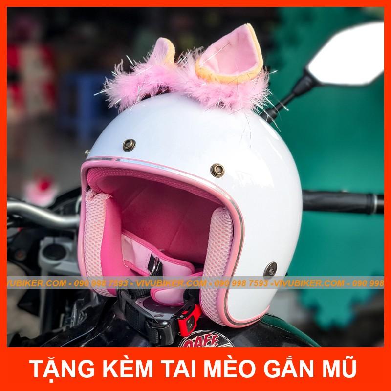 Mũ bảo hiểm 3/4 NTMAX trắng lót hồng chính hãng kèm tai mèo, tai thỏ gắn nón bảo hiểm siêu dễ thương